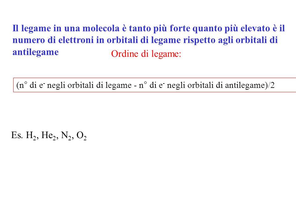 Il legame in una molecola è tanto più forte quanto più elevato è il numero di elettroni in orbitali di legame rispetto agli orbitali di antilegame (n°
