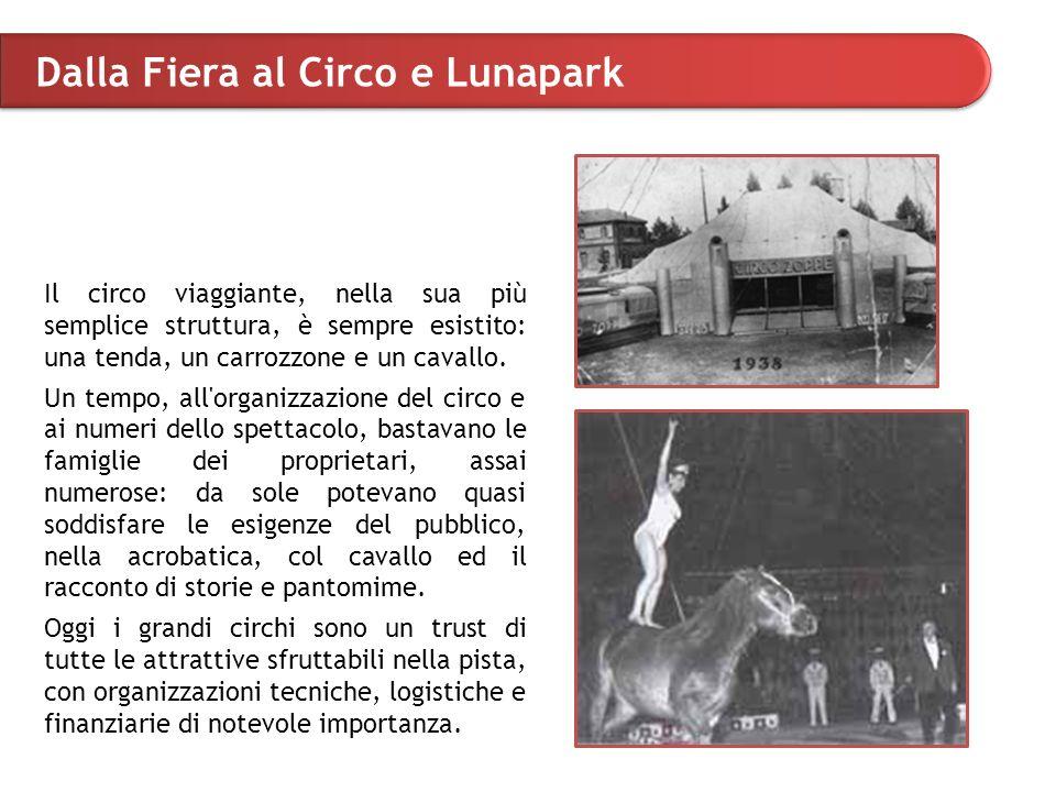 Dalla Fiera al Circo e Lunapark Il circo viaggiante, nella sua più semplice struttura, è sempre esistito: una tenda, un carrozzone e un cavallo.