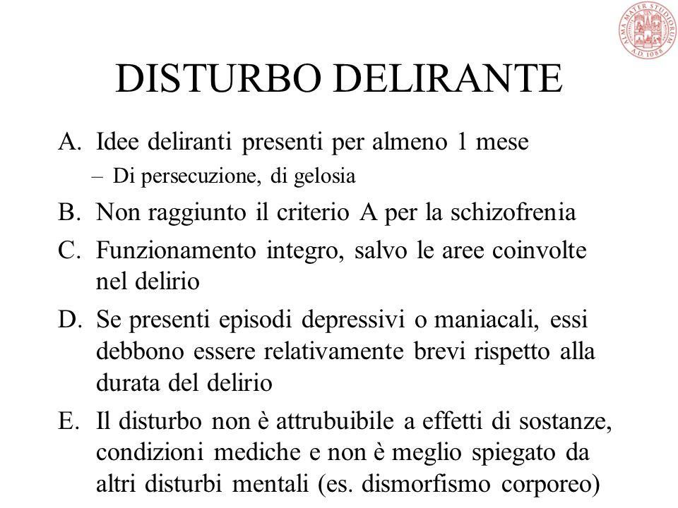 DISTURBO DELIRANTE A.Idee deliranti presenti per almeno 1 mese –Di persecuzione, di gelosia B.Non raggiunto il criterio A per la schizofrenia C.Funzionamento integro, salvo le aree coinvolte nel delirio D.Se presenti episodi depressivi o maniacali, essi debbono essere relativamente brevi rispetto alla durata del delirio E.Il disturbo non è attrubuibile a effetti di sostanze, condizioni mediche e non è meglio spiegato da altri disturbi mentali (es.