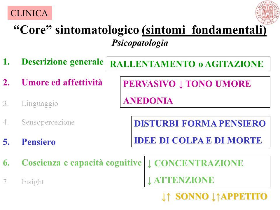 Core sintomatologico (sintomi fondamentali) Psicopatologia 1.Descrizione generale 2.Umore ed affettività 3.Linguaggio 4.Sensopercezione 5.Pensiero 6.Coscienza e capacità cognitive 7.Insight CLINICA DISTURBI FORMA PENSIERO IDEE DI COLPA E DI MORTE PERVASIVO ↓ TONO UMORE ANEDONIA RALLENTAMENTO o AGITAZIONE ↓ CONCENTRAZIONE ↓ ATTENZIONE ↓ ↑ SONNO ↓↑APPETITO