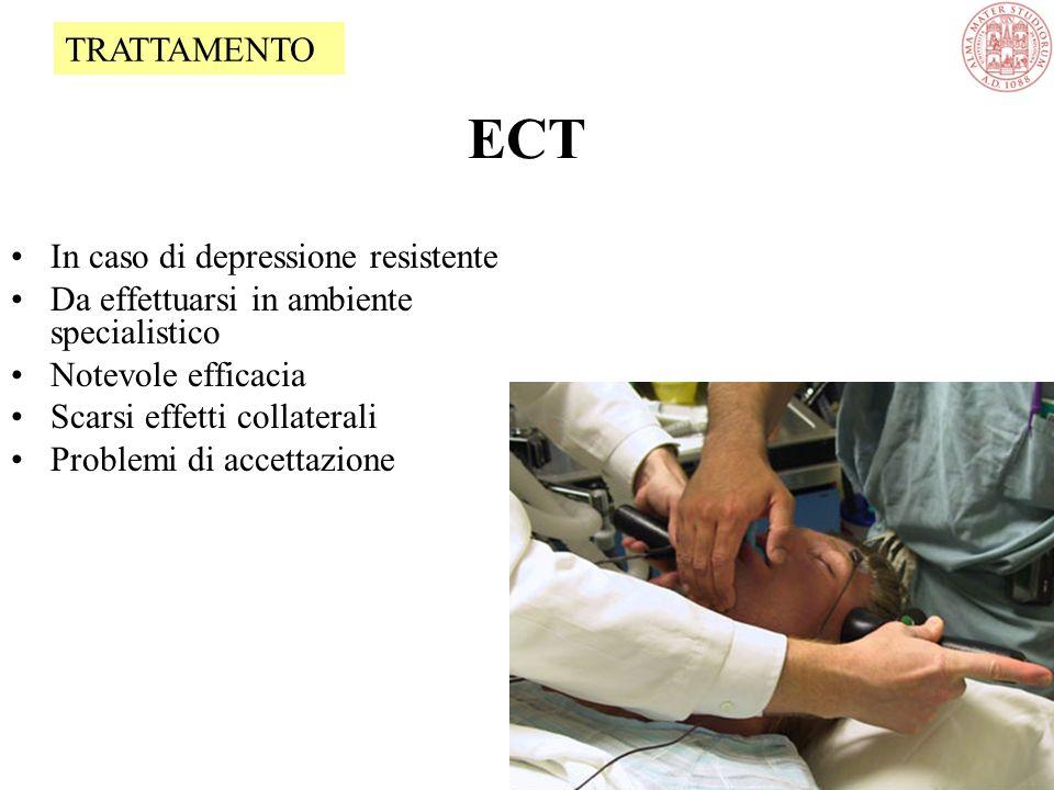 ECT In caso di depressione resistente Da effettuarsi in ambiente specialistico Notevole efficacia Scarsi effetti collaterali Problemi di accettazione TRATTAMENTO