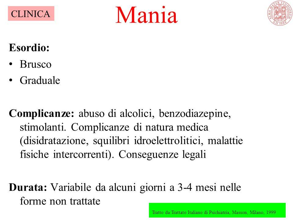 Mania Tratto da:Trattato Italiano di Psichiatria, Masson, Milano, 1999 CLINICA Esordio: Brusco Graduale Complicanze: abuso di alcolici, benzodiazepine, stimolanti.