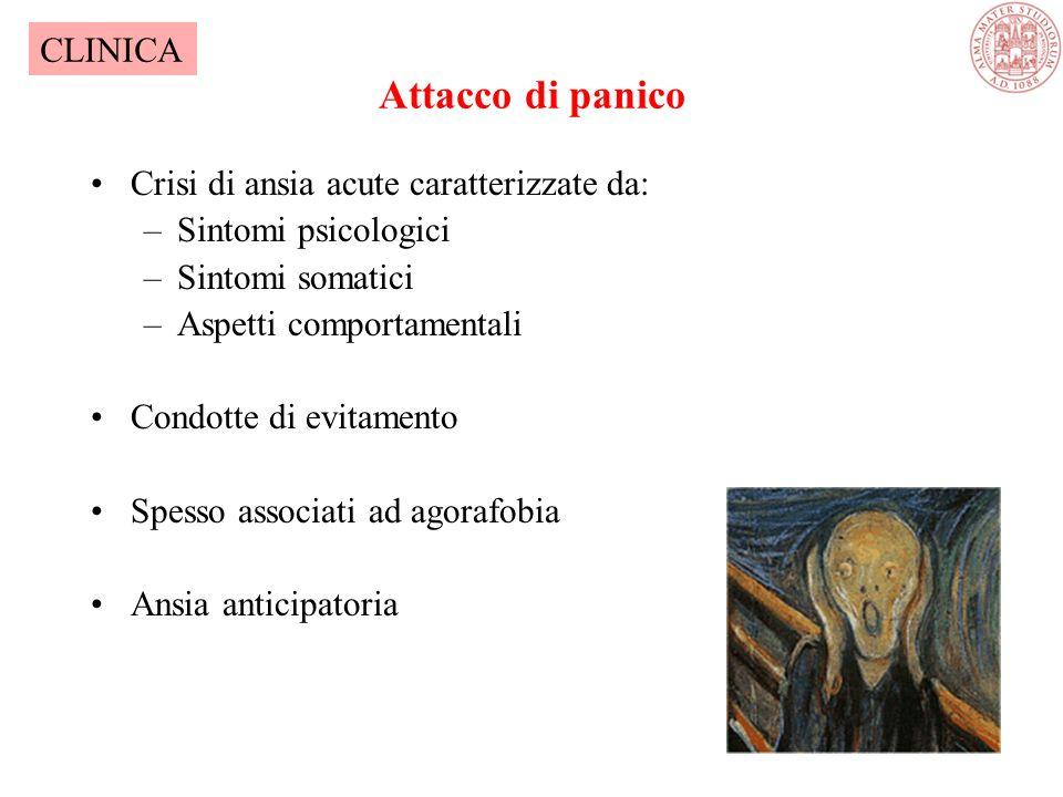 Attacco di panico Crisi di ansia acute caratterizzate da: –Sintomi psicologici –Sintomi somatici –Aspetti comportamentali Condotte di evitamento Spesso associati ad agorafobia Ansia anticipatoria CLINICA