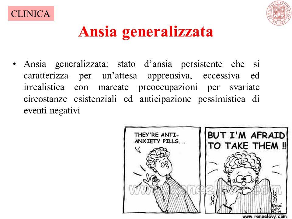 Ansia generalizzata Ansia generalizzata: stato d'ansia persistente che si caratterizza per un'attesa apprensiva, eccessiva ed irrealistica con marcate preoccupazioni per svariate circostanze esistenziali ed anticipazione pessimistica di eventi negativi CLINICA