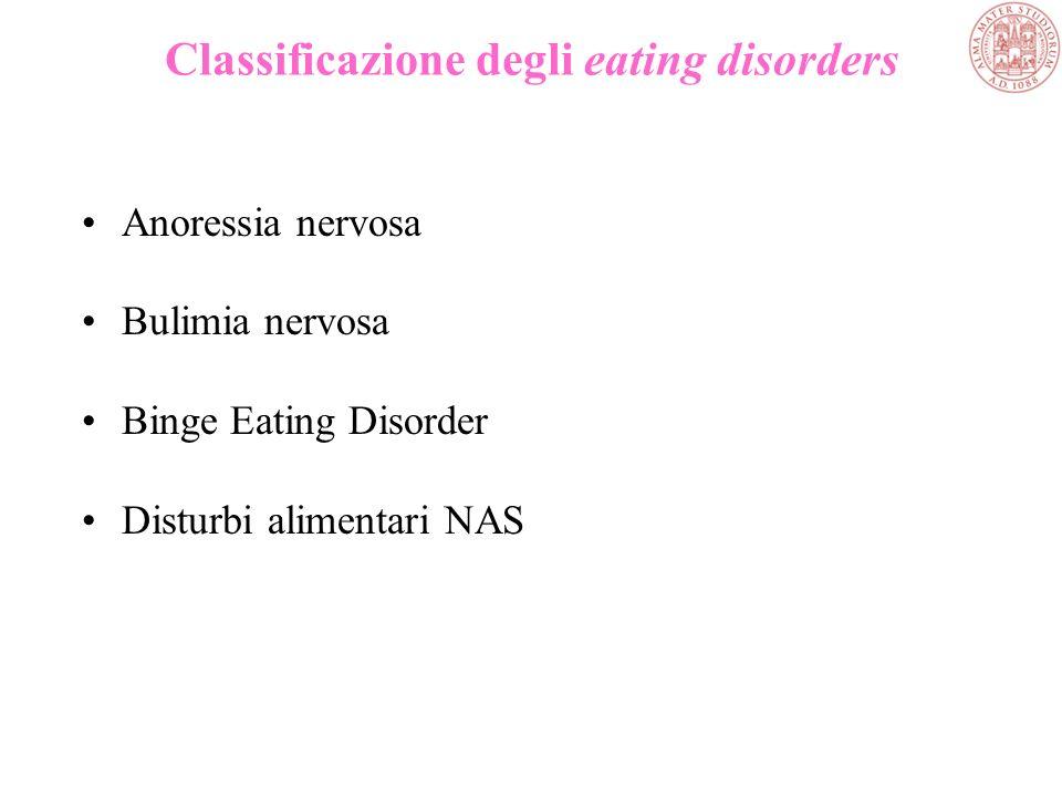 Classificazione degli eating disorders Anoressia nervosa Bulimia nervosa Binge Eating Disorder Disturbi alimentari NAS