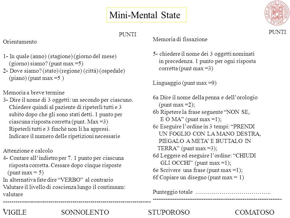 Mini-Mental State PUNTI Orientamento 1- In quale (anno) (stagione) (giorno del mese) (giorno) siamo.