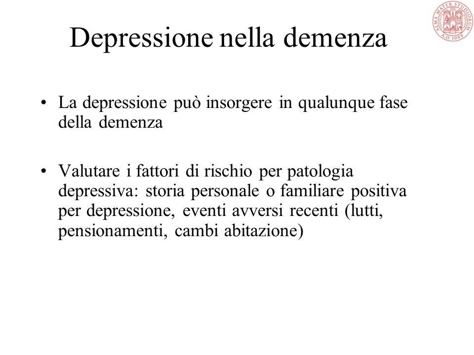 Depressione nella demenza La depressione può insorgere in qualunque fase della demenza Valutare i fattori di rischio per patologia depressiva: storia personale o familiare positiva per depressione, eventi avversi recenti (lutti, pensionamenti, cambi abitazione)