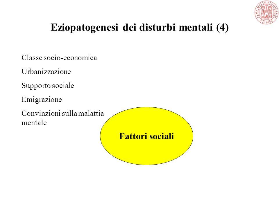 Eziopatogenesi dei disturbi mentali (4) Fattori sociali Classe socio-economica Urbanizzazione Supporto sociale Emigrazione Convinzioni sulla malattia mentale