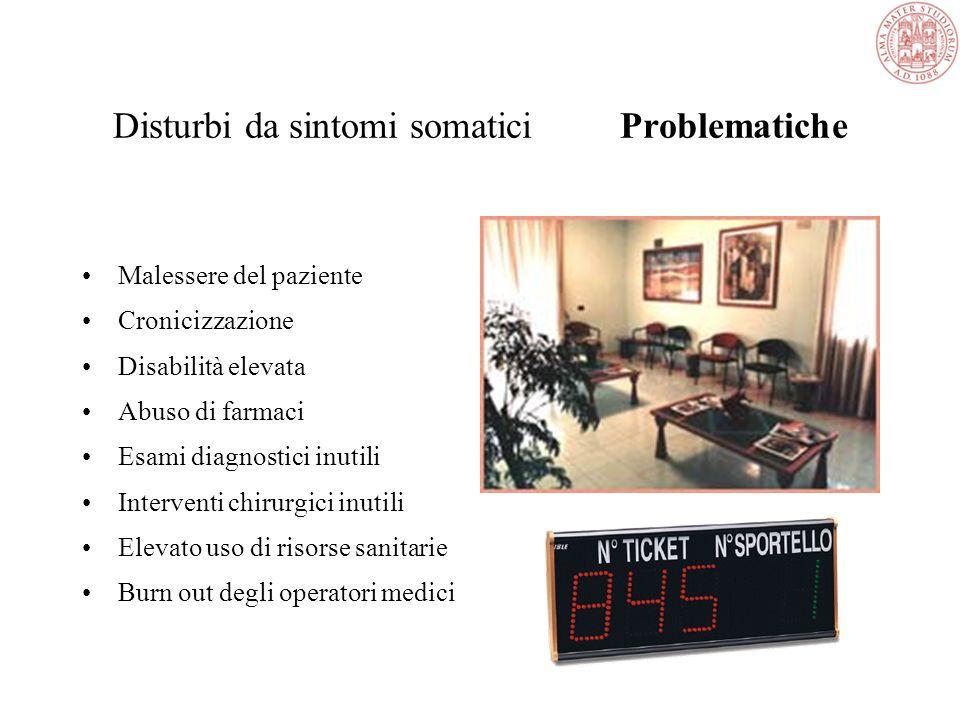 Disturbi da sintomi somatici Problematiche Malessere del paziente Cronicizzazione Disabilità elevata Abuso di farmaci Esami diagnostici inutili Interventi chirurgici inutili Elevato uso di risorse sanitarie Burn out degli operatori medici