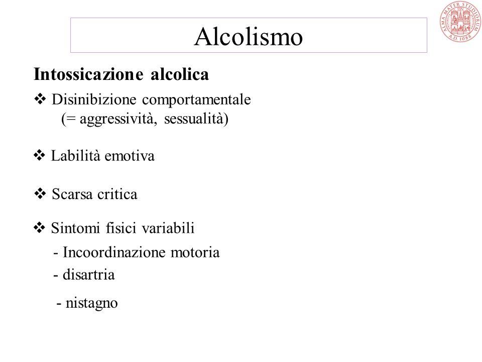 Intossicazione alcolica  Disinibizione comportamentale (= aggressività, sessualità)  Labilità emotiva  Scarsa critica  Sintomi fisici variabili - Incoordinazione motoria - disartria - nistagno Alcolismo