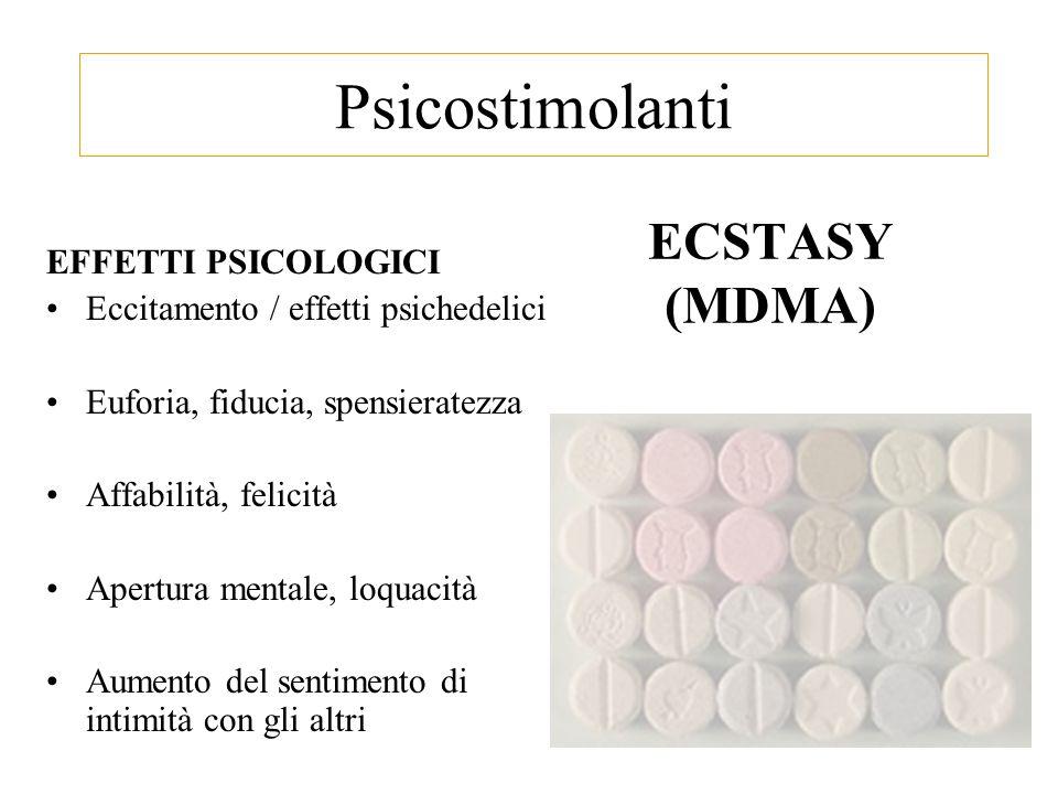 ECSTASY (MDMA) EFFETTI PSICOLOGICI Eccitamento / effetti psichedelici Euforia, fiducia, spensieratezza Affabilità, felicità Apertura mentale, loquacità Aumento del sentimento di intimità con gli altri Psicostimolanti
