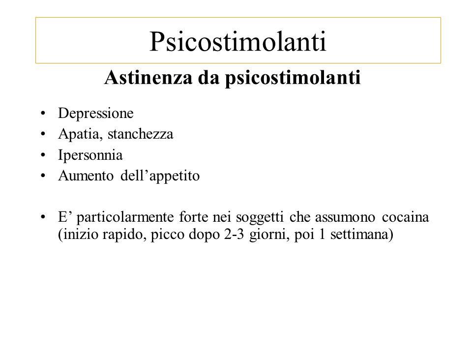 Astinenza da psicostimolanti Depressione Apatia, stanchezza Ipersonnia Aumento dell'appetito E' particolarmente forte nei soggetti che assumono cocaina (inizio rapido, picco dopo 2-3 giorni, poi 1 settimana) Psicostimolanti