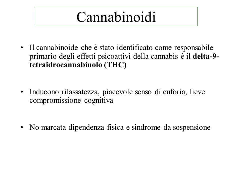 Il cannabinoide che è stato identificato come responsabile primario degli effetti psicoattivi della cannabis è il delta-9- tetraidrocannabinolo (THC) Inducono rilassatezza, piacevole senso di euforia, lieve compromissione cognitiva No marcata dipendenza fisica e sindrome da sospensione Cannabinoidi