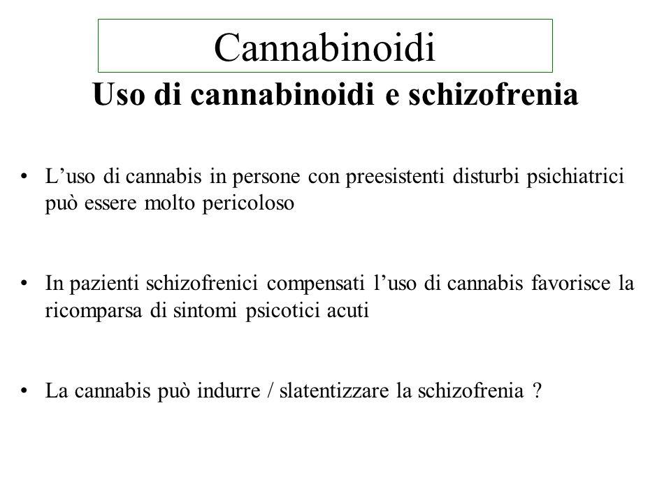 Uso di cannabinoidi e schizofrenia L'uso di cannabis in persone con preesistenti disturbi psichiatrici può essere molto pericoloso In pazienti schizofrenici compensati l'uso di cannabis favorisce la ricomparsa di sintomi psicotici acuti La cannabis può indurre / slatentizzare la schizofrenia .