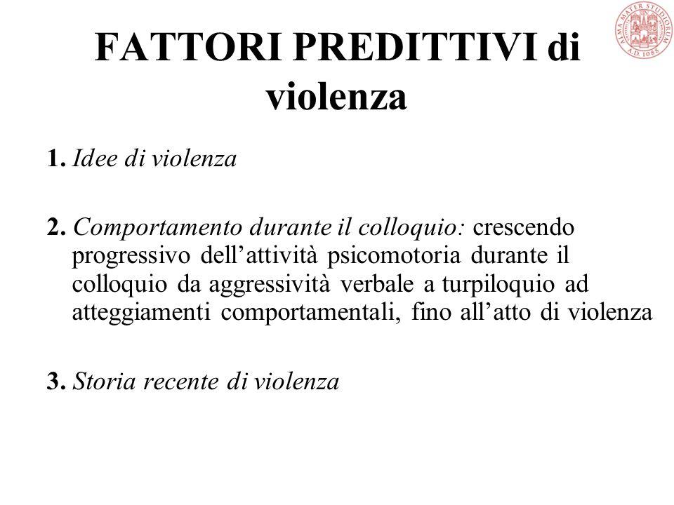 FATTORI PREDITTIVI di violenza 1. Idee di violenza 2.