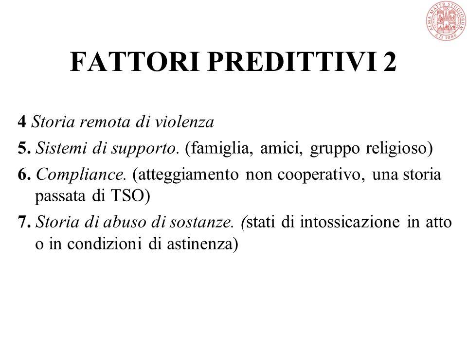 FATTORI PREDITTIVI 2 4 Storia remota di violenza 5.