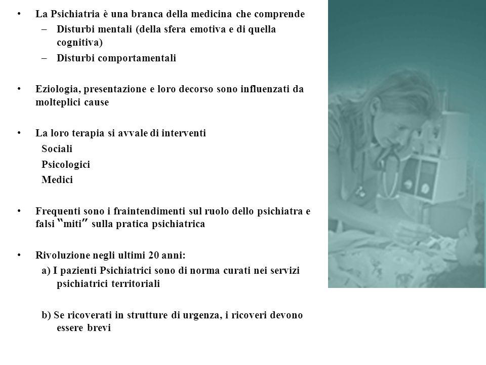 PROGRAMMA Cenni di Epidemiologia Psichiatrica L'assistenza Psichiatrica in Italia, Legislazione psichiatrica Cenni eziopatologici Colloquio con il paziente Esame di Stato Mentale - Psicopatologia Classificazione dei Disturbi Mentali Schizofrenia e Altre Psicosi Depressione e Disturbo Bipolare Ansia e spettro Disturbi d'Ansia Disturbi del Comportamento Alimentare Demenze e Ritardo Mentale Disturbi di Personalità Disturbi da sintomi somatici Abusi e Dipendenze Emergenze in Psichiatria Psicofarmaci e Psicoterapie
