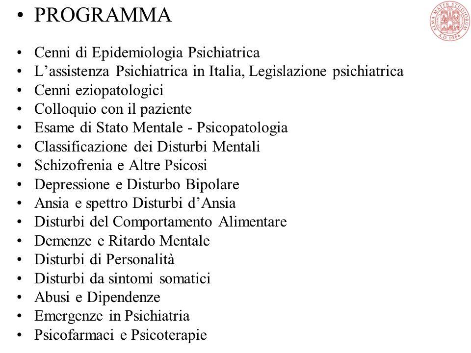 Tratto da: Trattato Italiano di Psichiatria, Masson, Milano, 1999