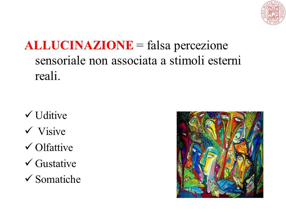 ALLUCINAZIONE = falsa percezione sensoriale non associata a stimoli esterni reali.