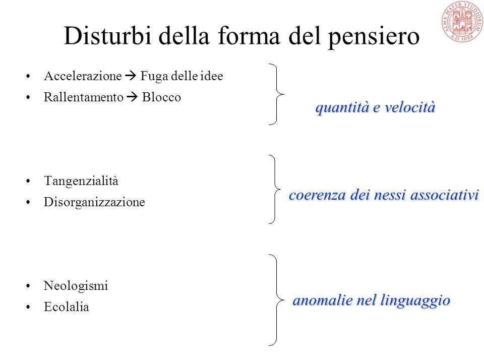 Disturbi della forma del pensiero Accelerazione  Fuga delle idee Rallentamento  Blocco Tangenzialità Disorganizzazione Neologismi Ecolalia quantità e velocità coerenza dei nessi associativi anomalie nel linguaggio