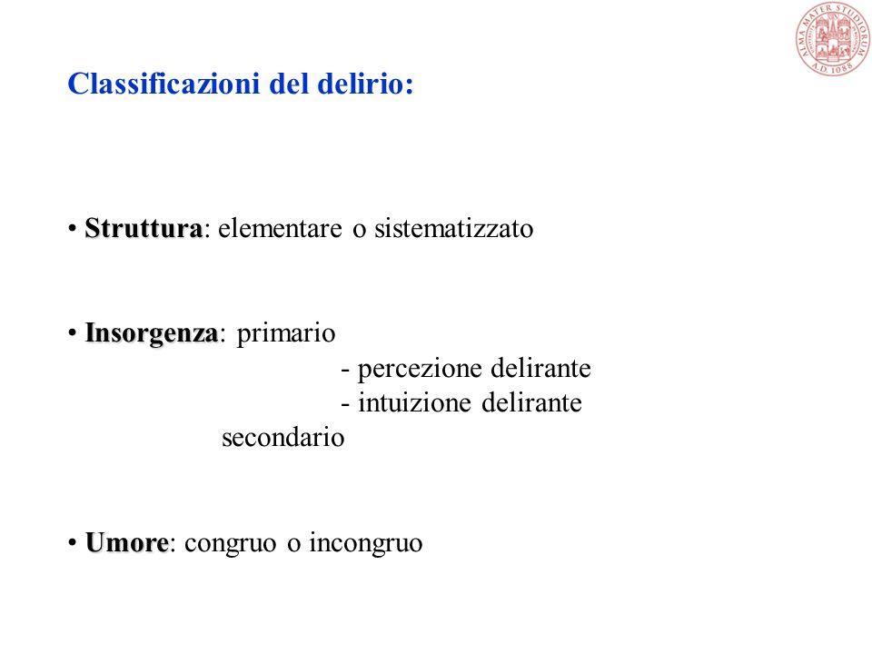 Classificazioni del delirio: Struttura Struttura: elementare o sistematizzato Insorgenza Insorgenza: primario - percezione delirante - intuizione delirante secondario Umore Umore: congruo o incongruo