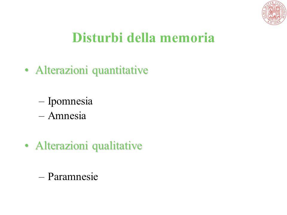 Disturbi della memoria Alterazioni quantitativeAlterazioni quantitative –Ipomnesia –Amnesia Alterazioni qualitativeAlterazioni qualitative –Paramnesie