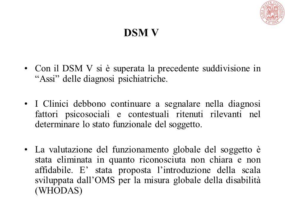 DSM V Con il DSM V si è superata la precedente suddivisione in Assi delle diagnosi psichiatriche.