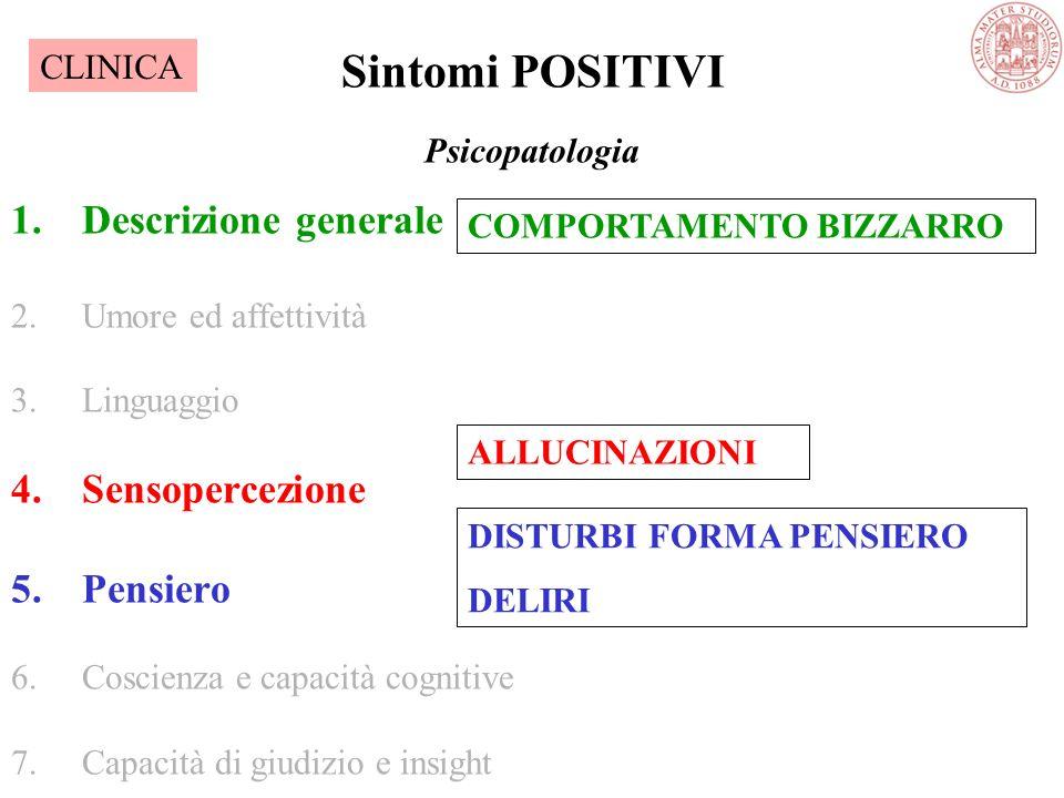 Psicopatologia 1.Descrizione generale 2.Umore ed affettività 3.Linguaggio 4.Sensopercezione 5.Pensiero 6.Coscienza e capacità cognitive 7.Capacità di giudizio e insight Sintomi POSITIVI COMPORTAMENTO BIZZARRO ALLUCINAZIONI DISTURBI FORMA PENSIERO DELIRI CLINICA