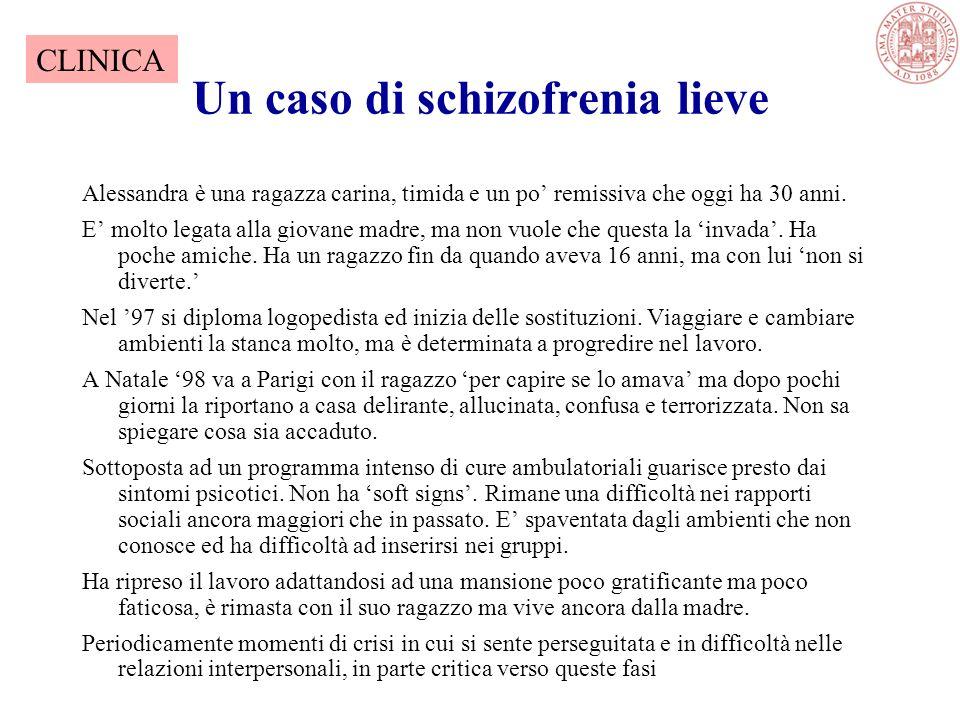 Un caso di schizofrenia lieve Alessandra è una ragazza carina, timida e un po' remissiva che oggi ha 30 anni.