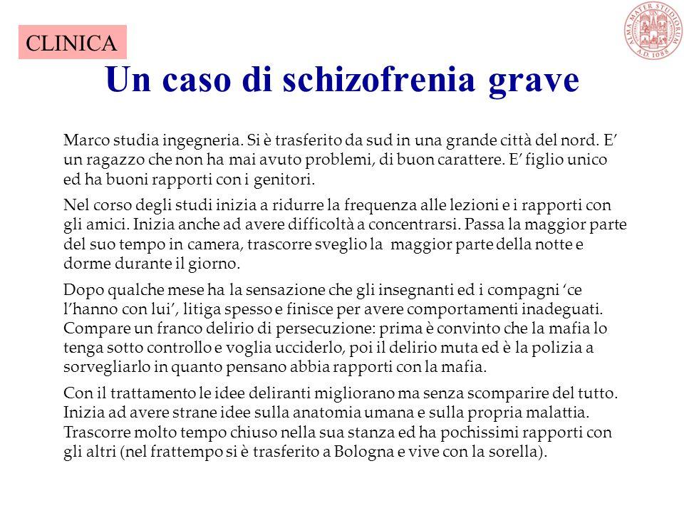 Un caso di schizofrenia grave Marco studia ingegneria.