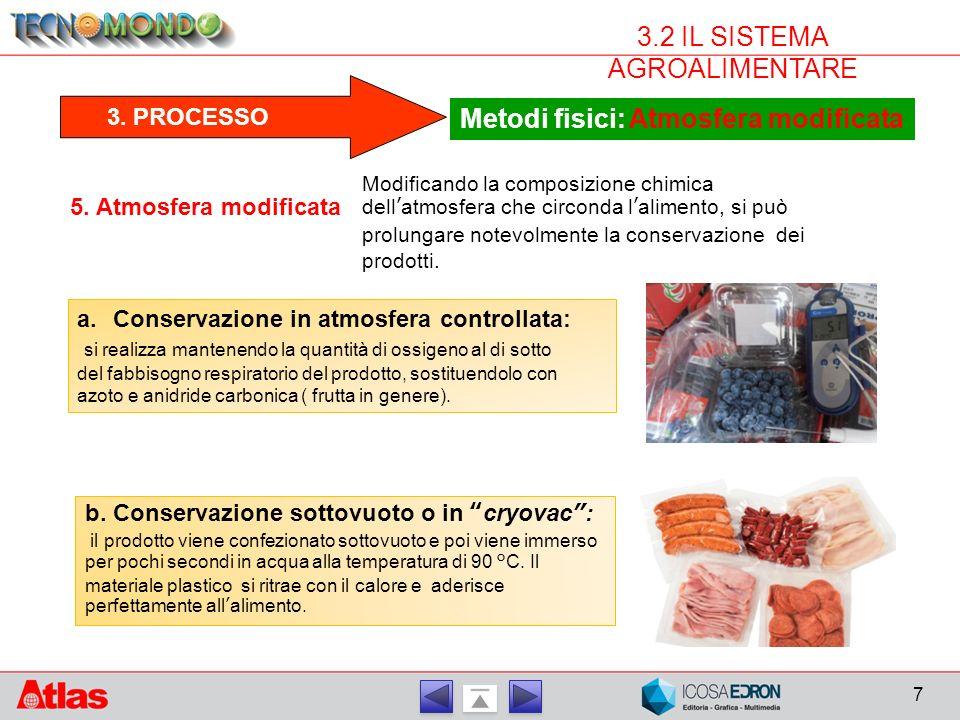 7 3.2 IL SISTEMA AGROALIMENTARE 3.PROCESSO Metodi fisici: Atmosfera modificata 5.