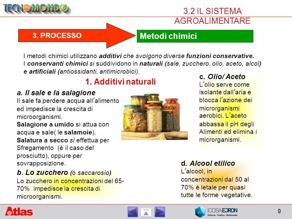 9 3.2 IL SISTEMA AGROALIMENTARE Metodi chimici 3.