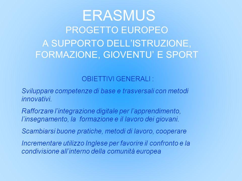 ERASMUS PROGETTO EUROPEO A SUPPORTO DELL'ISTRUZIONE, FORMAZIONE, GIOVENTU' E SPORT OBIETTIVI GENERALI : Sviluppare competenze di base e trasversali co