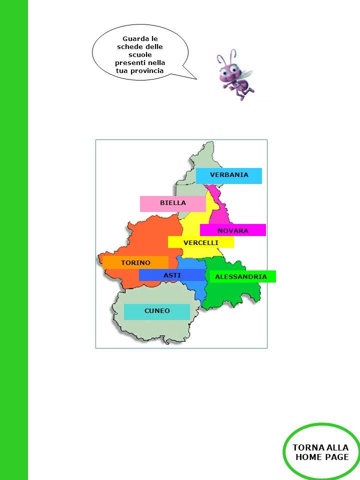 Guarda le schede delle scuole presenti nella tua provincia TORINO ALESSANDRIA ASTI NOVARA VERCELLI CUNEO BIELLA VERBANIA TORNA ALLA HOME PAGE