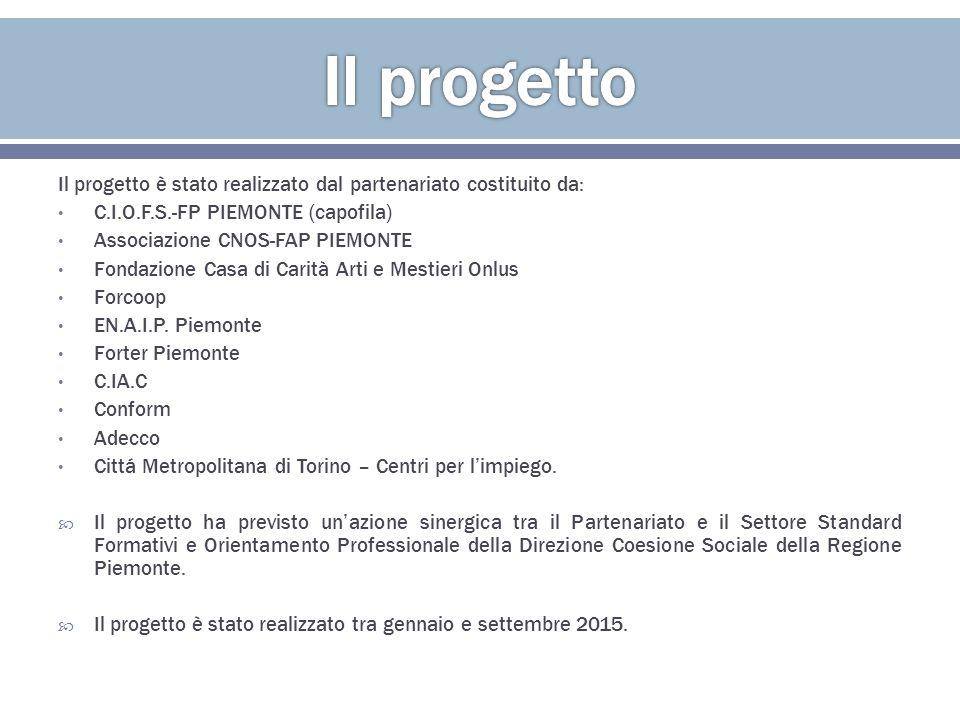  Il progetto è stato governato dal Comitato Tecnico Scientifico (CTS) costituito da uno o due rappresentanti per partner, coordinato dal Referente unico del progetto, espresso da CIOFS-FP Piemonte, capofila.