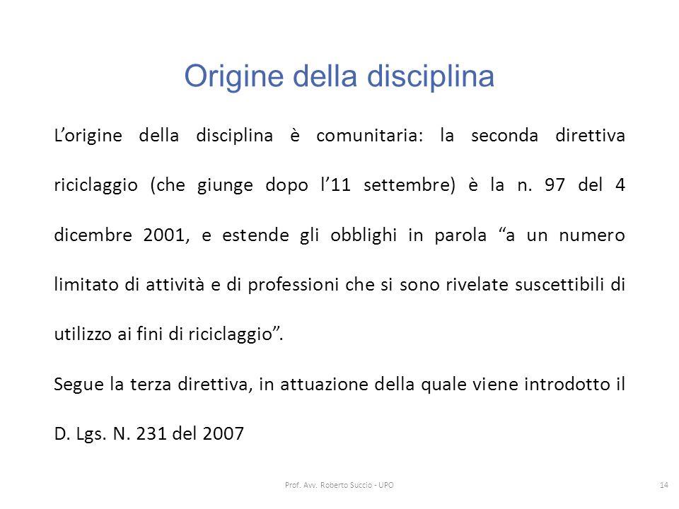 Origine della disciplina L'origine della disciplina è comunitaria: la seconda direttiva riciclaggio (che giunge dopo l'11 settembre) è la n. 97 del 4