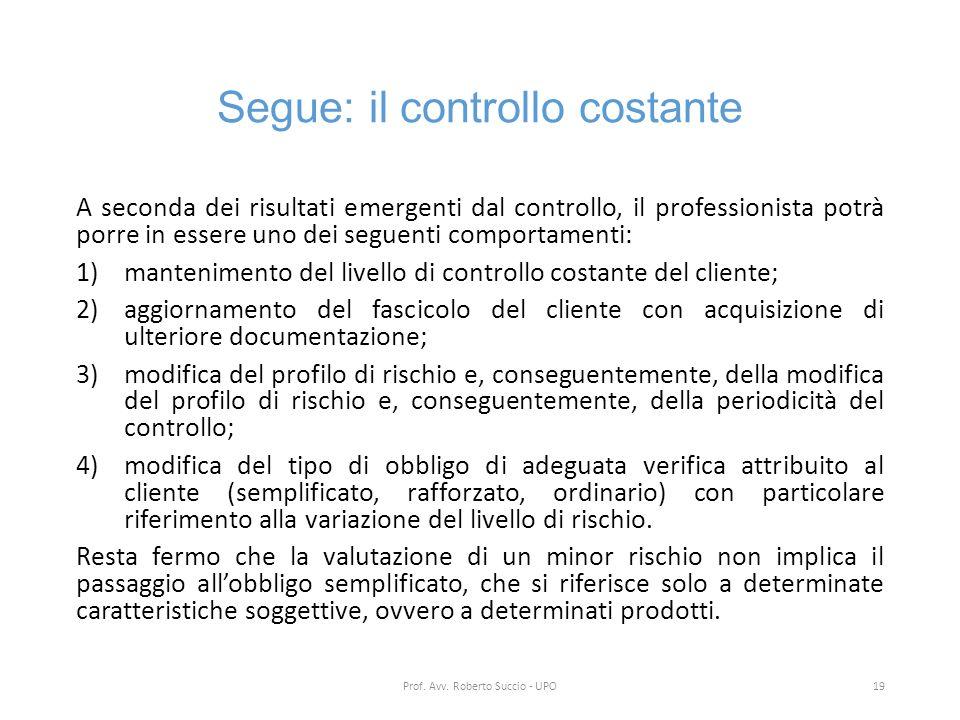 Segue: il controllo costante A seconda dei risultati emergenti dal controllo, il professionista potrà porre in essere uno dei seguenti comportamenti: