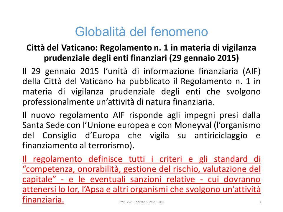 Globalità del fenomeno Città del Vaticano: Regolamento n. 1 in materia di vigilanza prudenziale degli enti finanziari (29 gennaio 2015) Il 29 gennaio