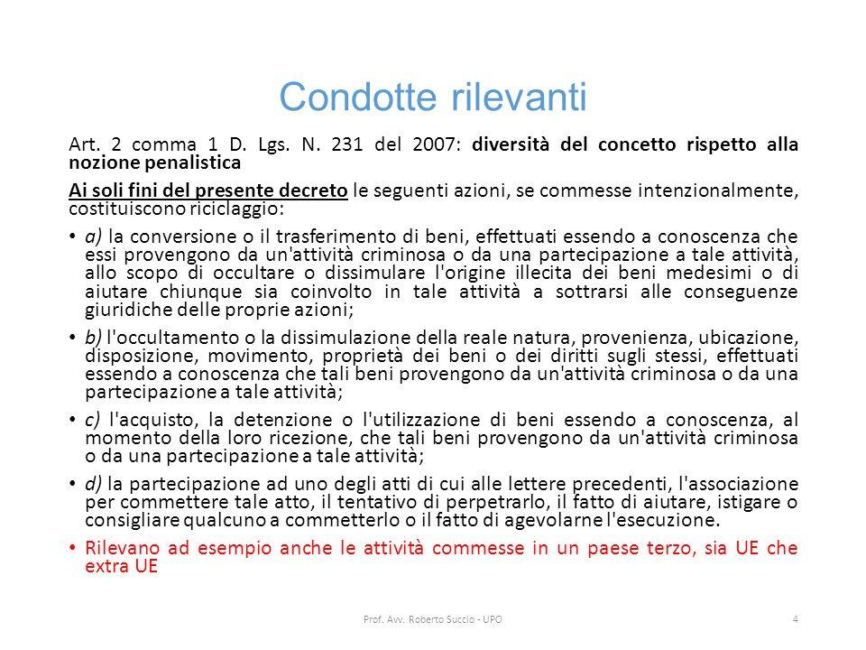 Condotte rilevanti Art. 2 comma 1 D. Lgs. N. 231 del 2007: diversità del concetto rispetto alla nozione penalistica Ai soli fini del presente decreto