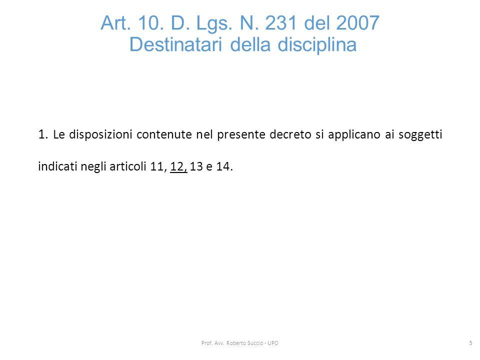 Art. 10. D. Lgs. N. 231 del 2007 Destinatari della disciplina 1. Le disposizioni contenute nel presente decreto si applicano ai soggetti indicati negl