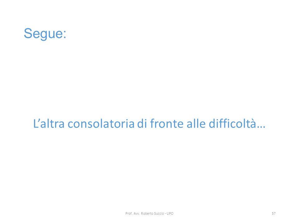 Segue: L'altra consolatoria di fronte alle difficoltà… Prof. Avv. Roberto Succio - UPO57
