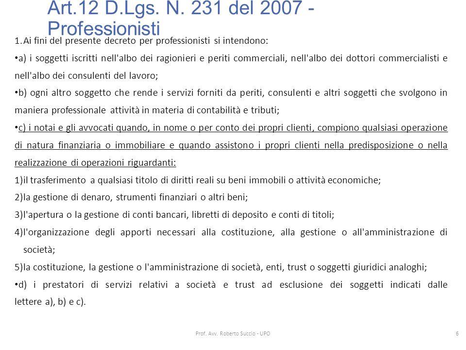 Art.12 D.Lgs. N. 231 del 2007 - Professionisti 1.Ai fini del presente decreto per professionisti si intendono: a) i soggetti iscritti nell'albo dei ra
