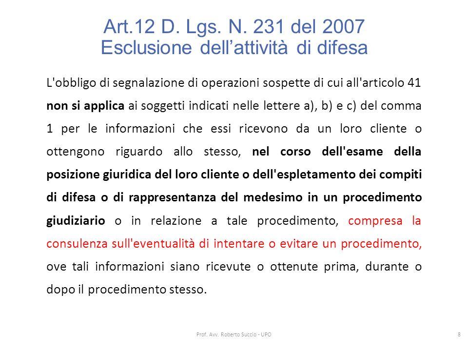 Art.12 D. Lgs. N. 231 del 2007 Esclusione dell'attività di difesa L'obbligo di segnalazione di operazioni sospette di cui all'articolo 41 non si appli