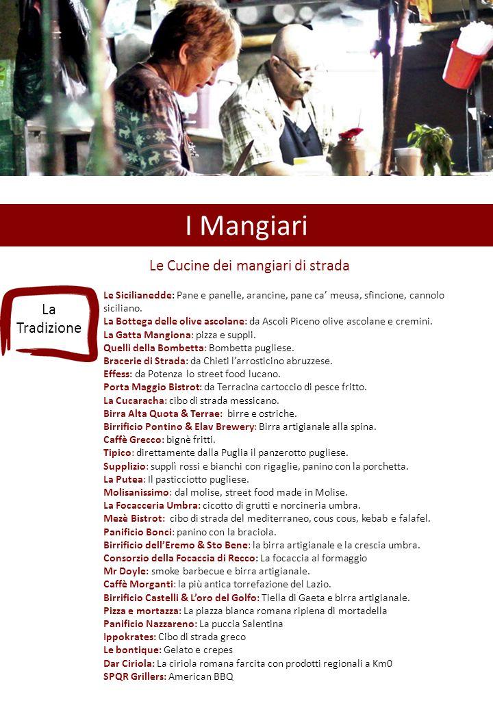 I Mangiari Le Cucine dei mangiari di strada Le Sicilianedde: Pane e panelle, arancine, pane ca' meusa, sfincione, cannolo siciliano.