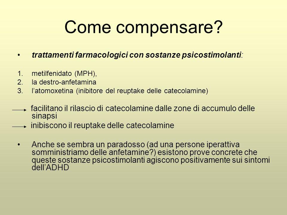 Come compensare? trattamenti farmacologici con sostanze psicostimolanti: 1.metilfenidato (MPH), 2.la destro-anfetamina 3.l'atomoxetina (inibitore del