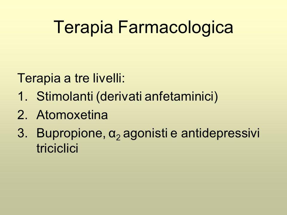 Terapia Farmacologica Terapia a tre livelli: 1.Stimolanti (derivati anfetaminici) 2.Atomoxetina 3.Bupropione, α 2 agonisti e antidepressivi triciclici