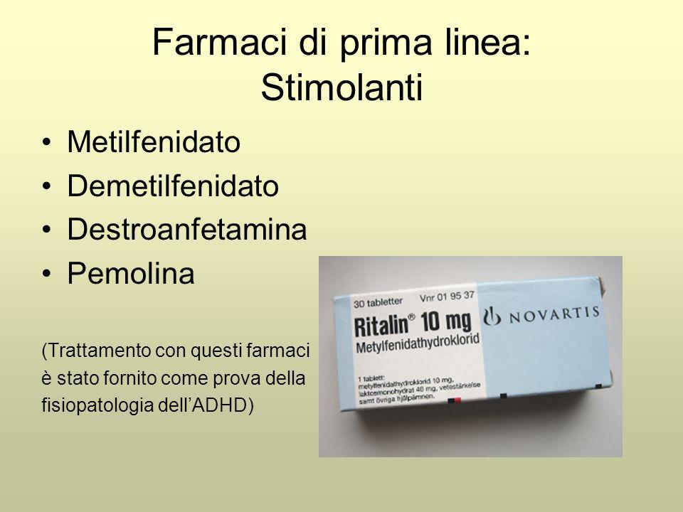 Farmaci di prima linea: Stimolanti Metilfenidato Demetilfenidato Destroanfetamina Pemolina (Trattamento con questi farmaci è stato fornito come prova della fisiopatologia dell'ADHD)