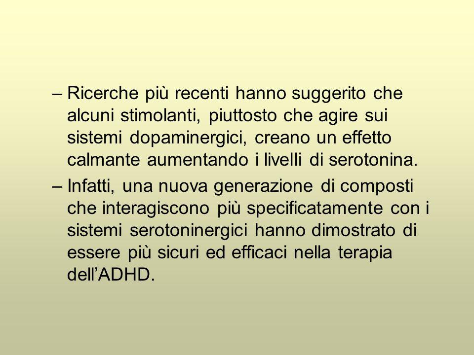 –Ricerche più recenti hanno suggerito che alcuni stimolanti, piuttosto che agire sui sistemi dopaminergici, creano un effetto calmante aumentando i livelli di serotonina.
