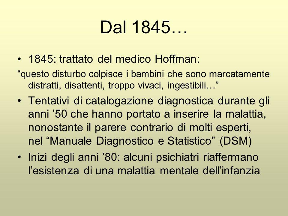 Dal 1845… 1845: trattato del medico Hoffman: questo disturbo colpisce i bambini che sono marcatamente distratti, disattenti, troppo vivaci, ingestibili… Tentativi di catalogazione diagnostica durante gli anni '50 che hanno portato a inserire la malattia, nonostante il parere contrario di molti esperti, nel Manuale Diagnostico e Statistico (DSM) Inizi degli anni '80: alcuni psichiatri riaffermano l'esistenza di una malattia mentale dell'infanzia