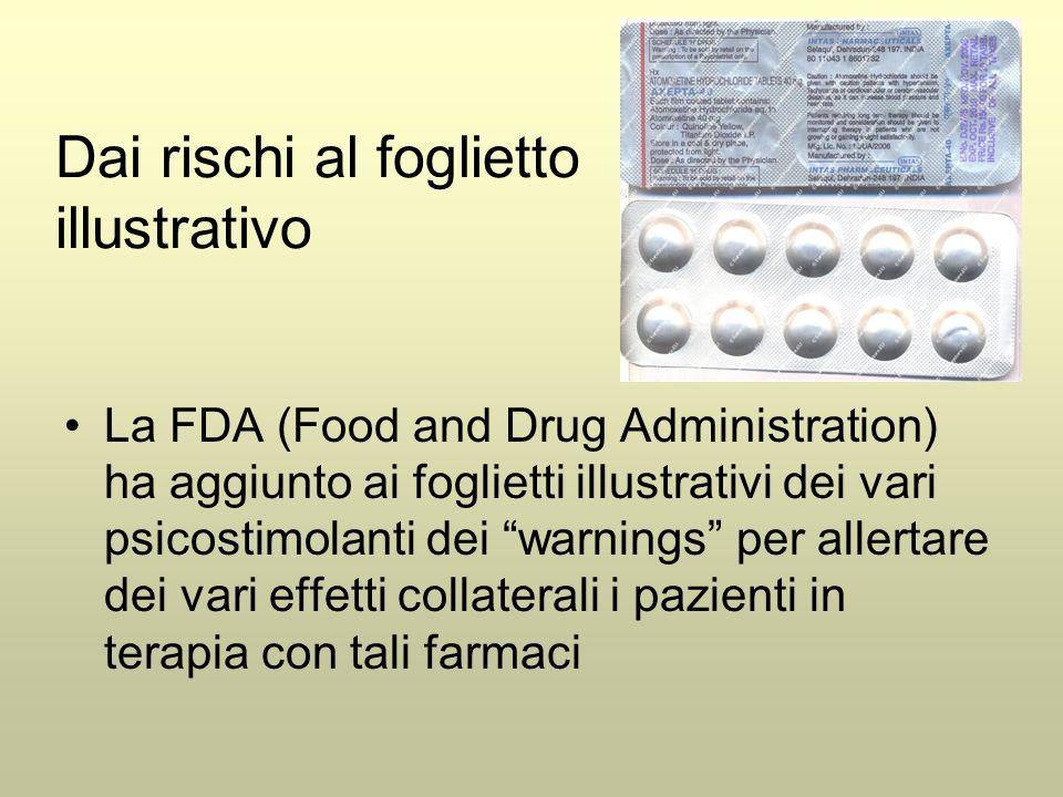 Dai rischi al foglietto illustrativo La FDA (Food and Drug Administration) ha aggiunto ai foglietti illustrativi dei vari psicostimolanti dei warnings per allertare dei vari effetti collaterali i pazienti in terapia con tali farmaci